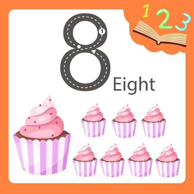 Illustratore di otto numeri cupcake Vettore Premium