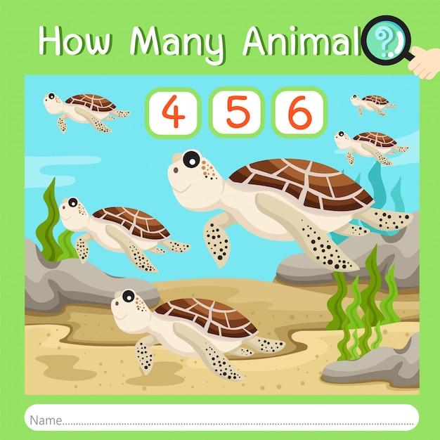 Illustratore di quanti animali cinque Vettore Premium