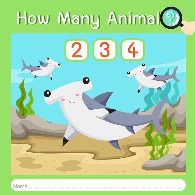 Illustratore di quanti animali sette Vettore Premium