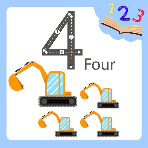 Illustratore di quattro escavatori numerici Vettore Premium