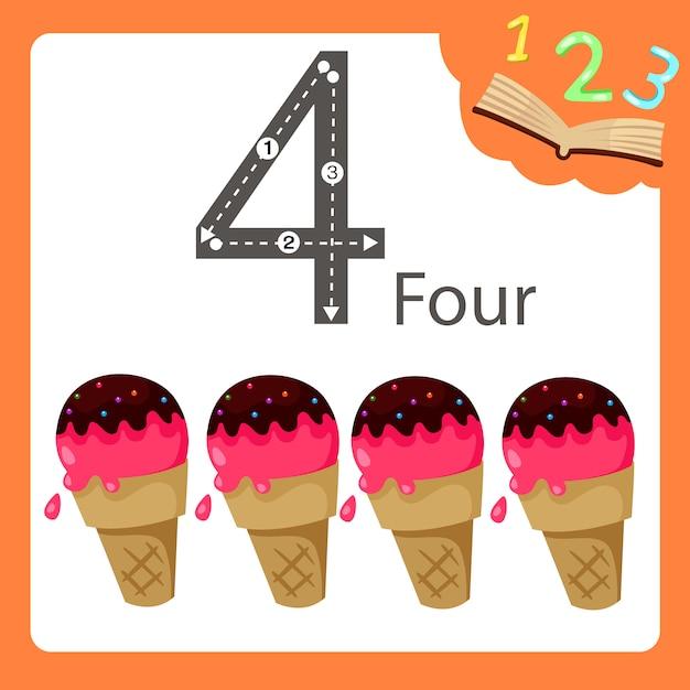 Illustratore di quattro numeri di gelato Vettore Premium