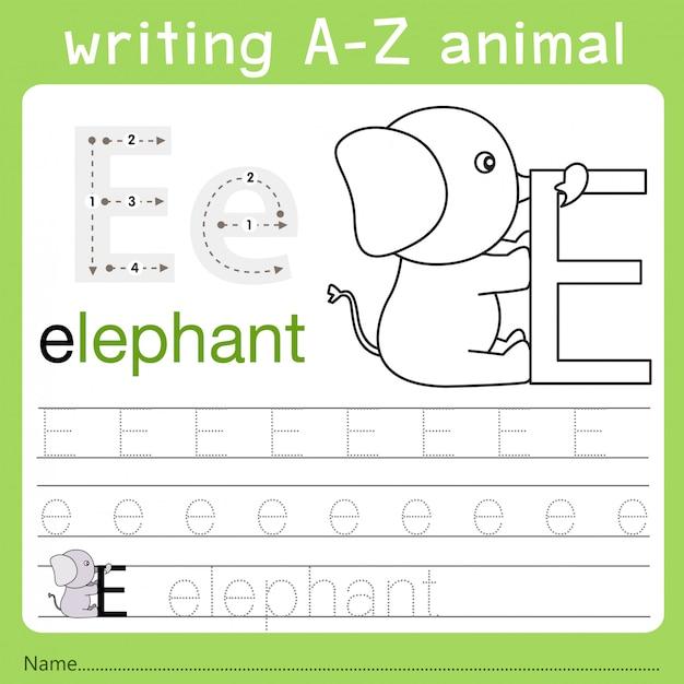 Illustratore di scrittura az animal e Vettore Premium