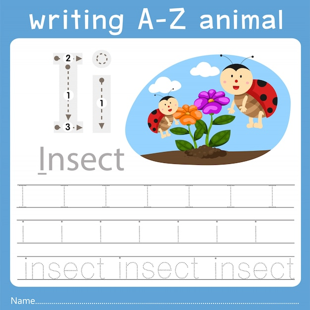 Illustratore di scrittura az animal i Vettore Premium