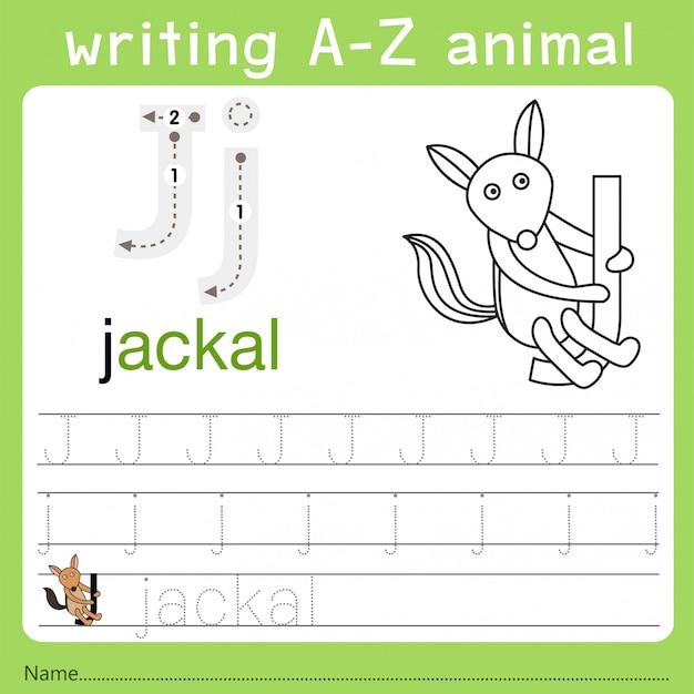 Illustratore di scrittura az animal j Vettore Premium