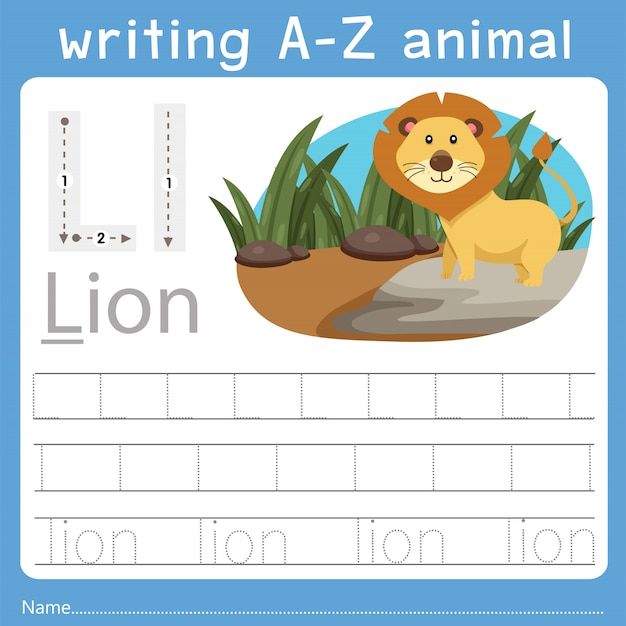 Illustratore di scrittura az animal l Vettore Premium
