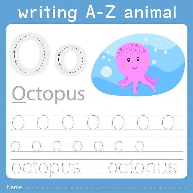 Illustratore di scrittura az animal o Vettore Premium