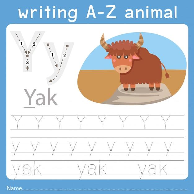Illustratore di scrittura az animale a Vettore Premium