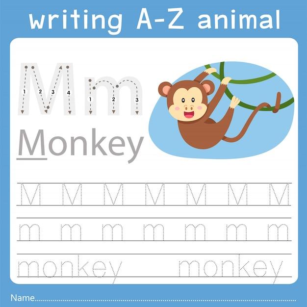 Illustratore di scrittura az animale m Vettore Premium