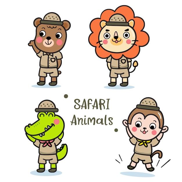Illustratore di set di animali safari Vettore Premium