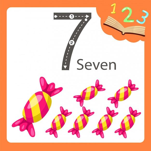 Illustratore di sette numeri di caramelle Vettore Premium