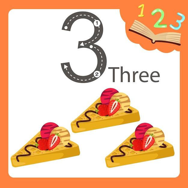Illustratore di tre waffle numerici Vettore Premium