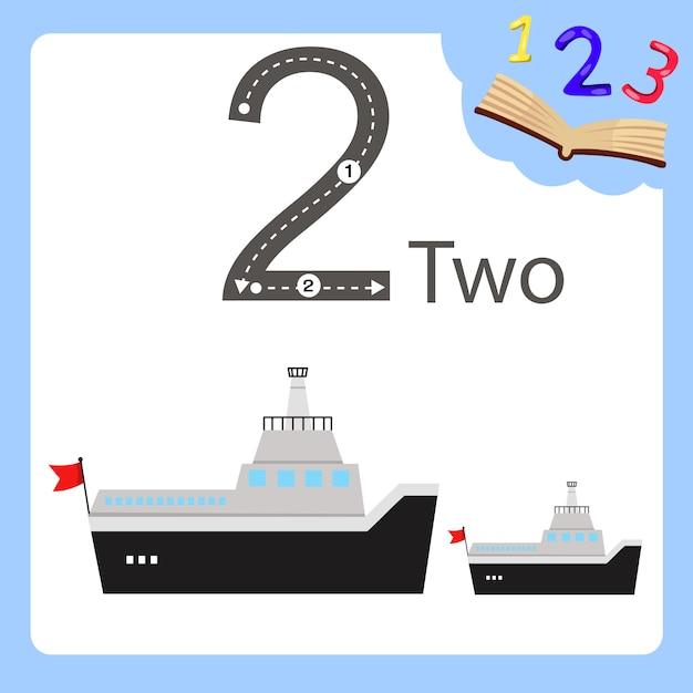 Illustratore di un traghetto di due numeri Vettore Premium