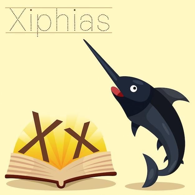 Illustratore di x per il vocabolario di iphias di x. Vettore Premium