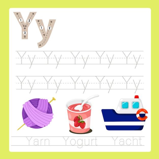 Illustratore di y esercita il vocabolario dei cartoni animati az Vettore Premium