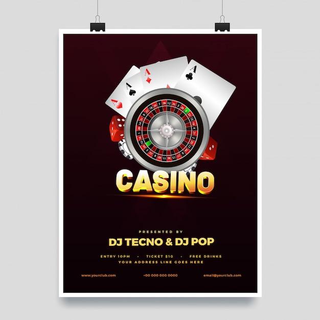 Illustrazione 3d del testo dorato casino con la ruota della roulette Vettore Premium