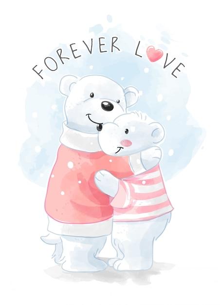 Illustrazione abbracciante della famiglia sveglia dell'orso polare Vettore Premium