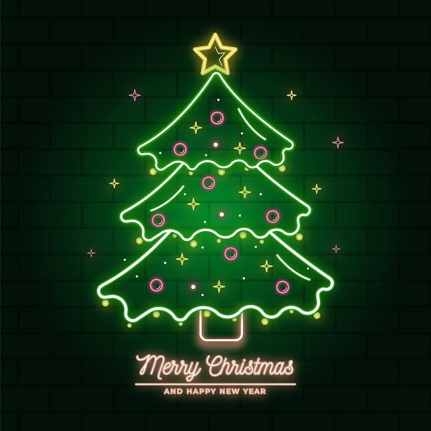 Illustrazione al neon dell'albero di natale Vettore gratuito