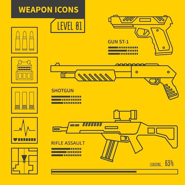 Illustrazione al tratto di vettore di arma Vettore Premium