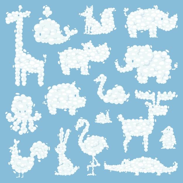 Illustrazione animale di vettore del modello della siluetta delle nuvole Vettore Premium