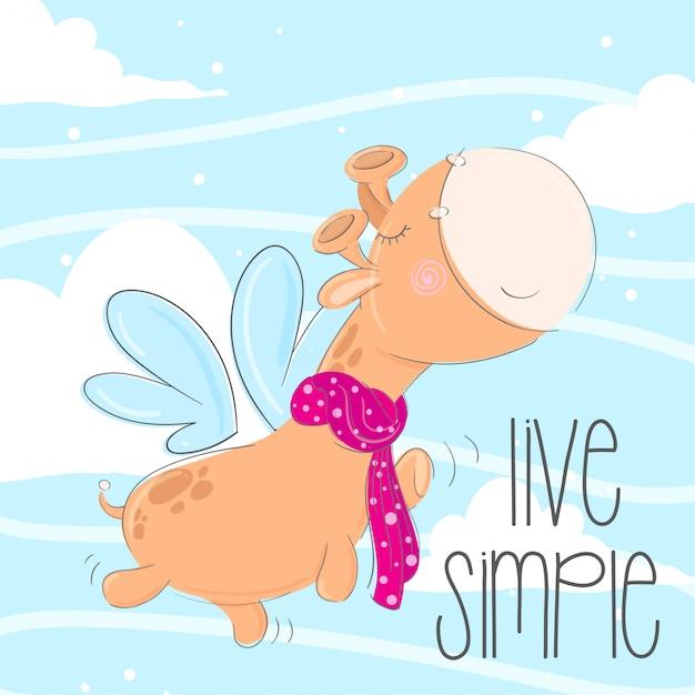 Illustrazione animale disegnata a mano della piccola giraffa sveglia Vettore Premium