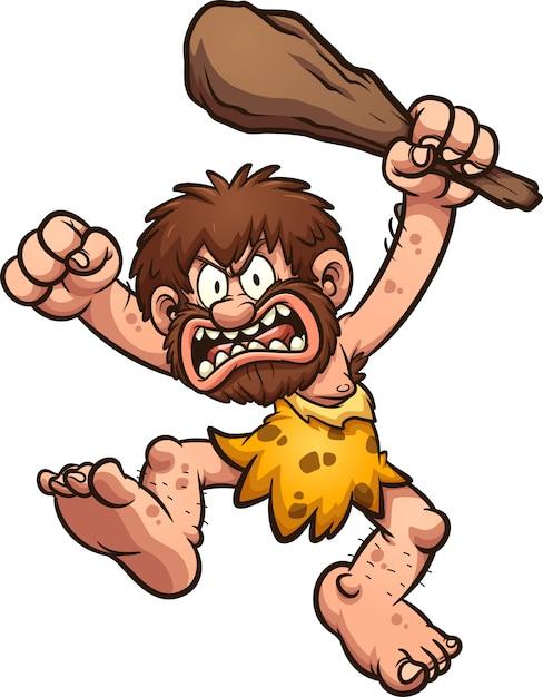 Illustrazione arrabbiato uomo delle caverne Vettore Premium