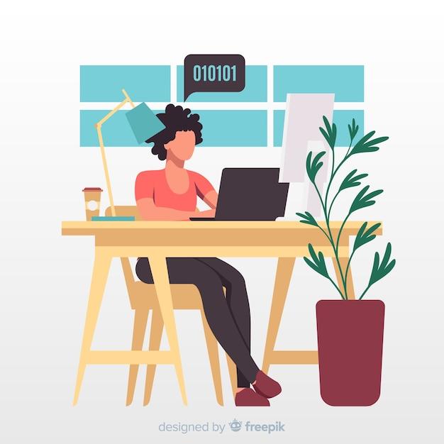 Illustrazione artistica con programmatore che lavora in ufficio Vettore gratuito