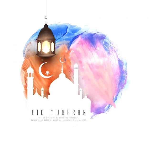 Illustrazione astratta del fondo dell'acquerello di eid mubarak Vettore gratuito