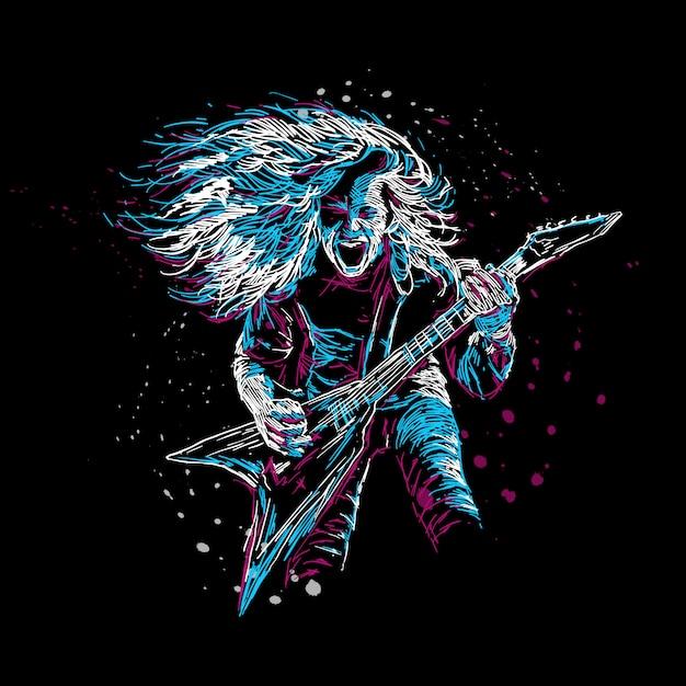 Illustrazione astratta del giocatore di chitarra rock Vettore Premium