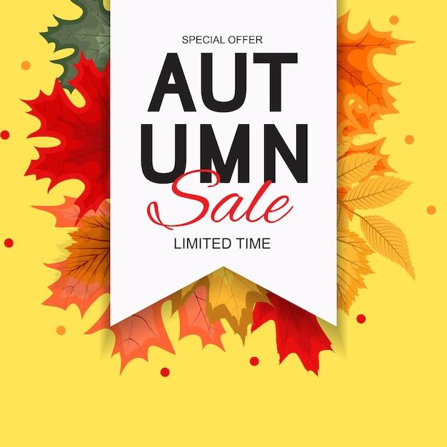 Illustrazione astratta di vettore autumn sale background con autumn leaves di caduta Vettore Premium