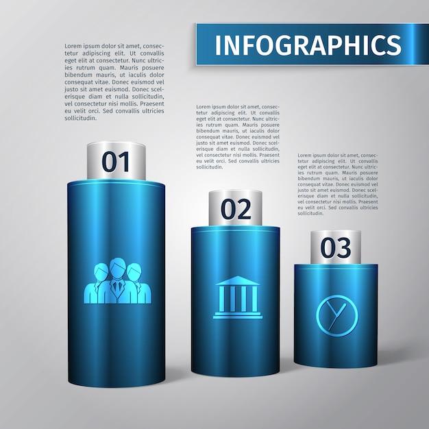 Illustrazione astratta di vettore del modello della disposizione di infographics di affari del grafico 3d Vettore gratuito