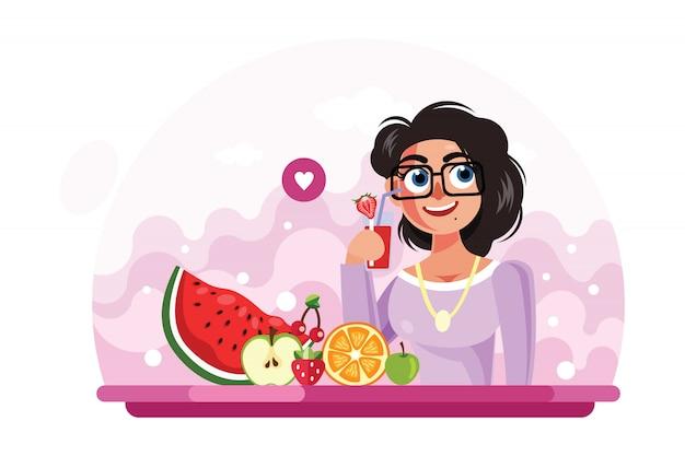 Illustrazione bevente di vettore del succo della ragazza Vettore Premium