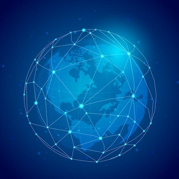 Illustrazione blu del fondo del collegamento in tutto il mondo Vettore gratuito