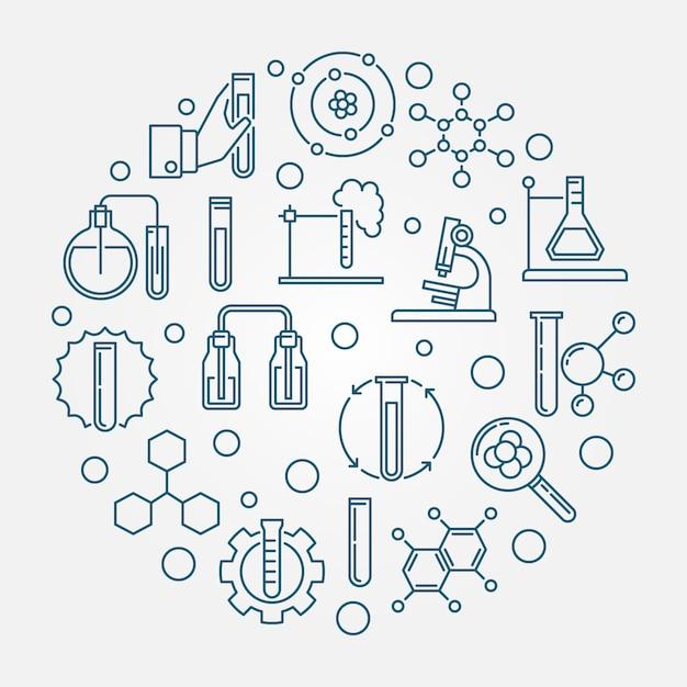 Illustrazione blu rotonda dell'icona del profilo di analisi chimica Vettore Premium