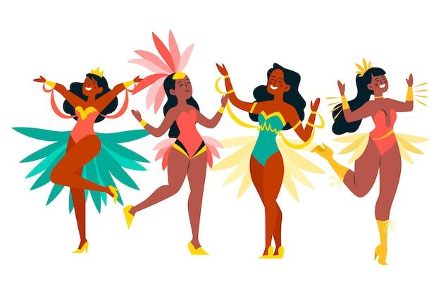 Illustrazione brasiliana della raccolta del ballerino di carnevale Vettore gratuito