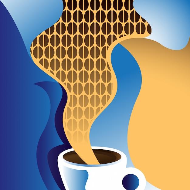 Illustrazione caffè retrò Vettore Premium