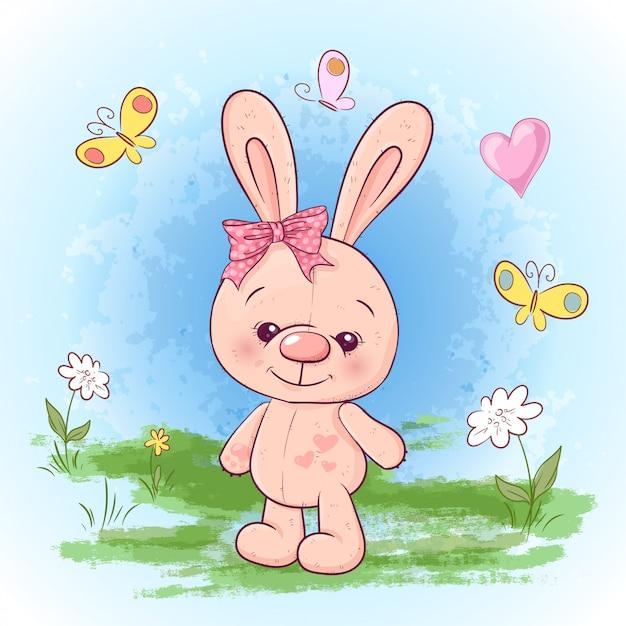 Illustrazione cartolina carino piccola lepre fiori e farfalle. Vettore Premium