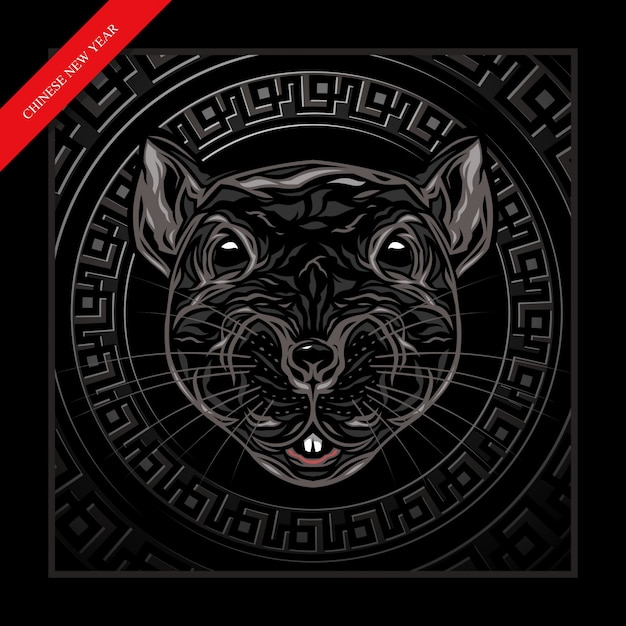 Illustrazione cinese della mascotte dei ratti di nuovo anno Vettore Premium