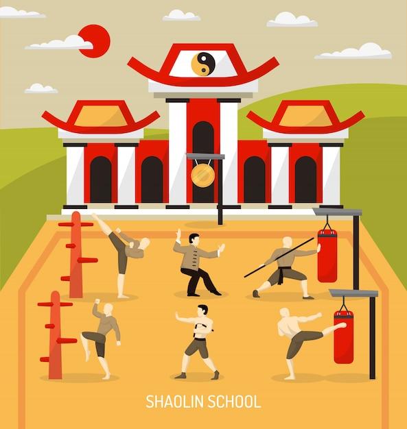 Illustrazione cinese di arti marziali del tempio Vettore gratuito