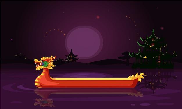 Illustrazione cinese di vettore della carta da parati di notte della nave del drago Vettore Premium