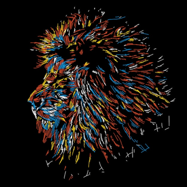 Illustrazione colorata astratta testa di leone Vettore Premium
