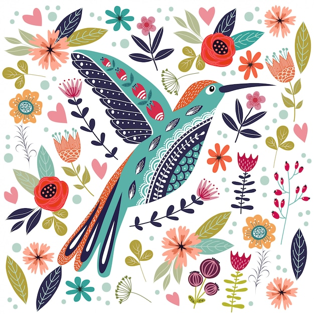 Illustrazione colorata con bellissimi uccelli folk astratti e fiori. Vettore Premium