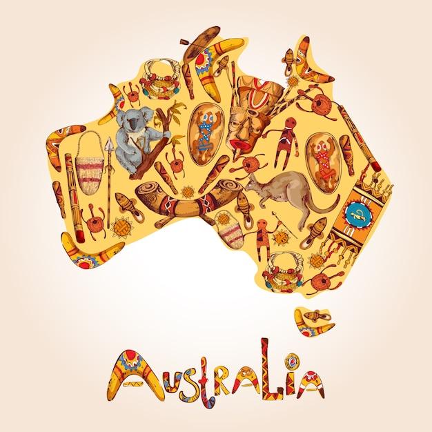 Illustrazione colorata di schizzo dell'australia Vettore gratuito