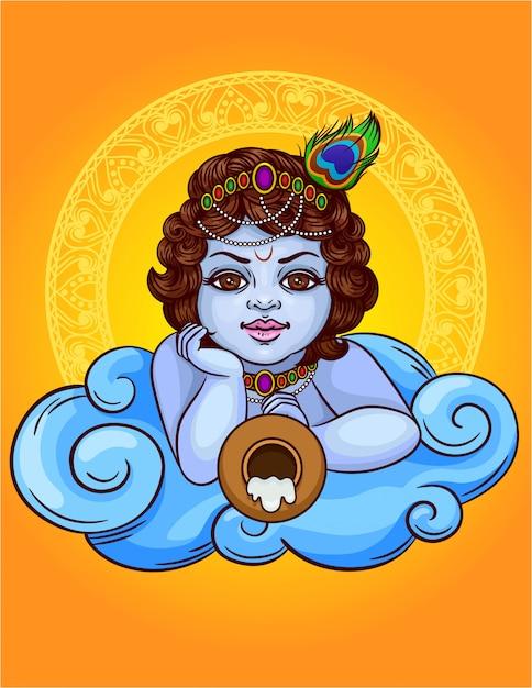 Illustrazione colorata di un dio indiano krishna si trova su una nuvola con una pentola. la divinità indiana è krishna little boy. felice janmashtami celebrazione carta regalo con cornice ornato decorato Vettore Premium