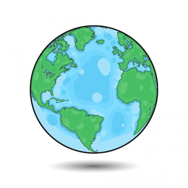 Illustrazione colorata globo Vettore Premium