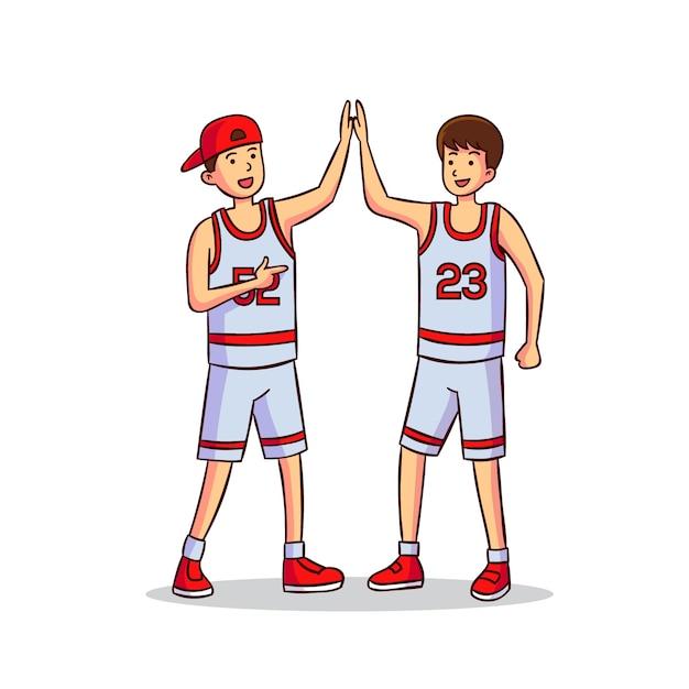 Illustrazione con adolescenti dando il cinque Vettore gratuito