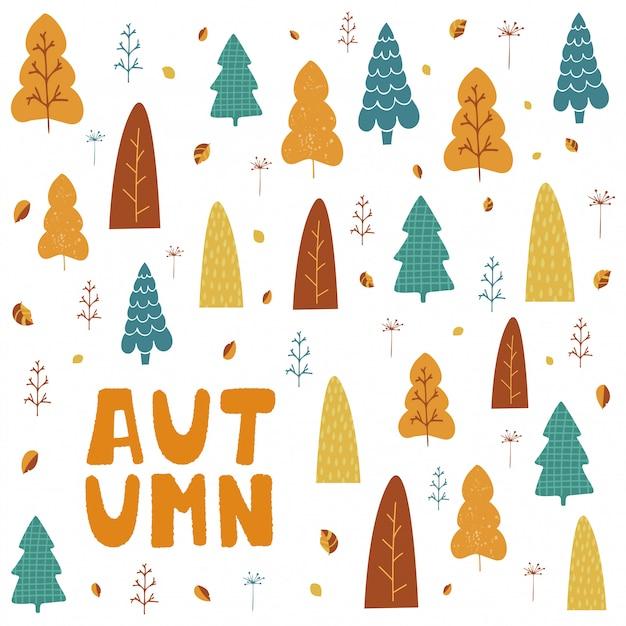 Illustrazione con alberi, foglie e scritte a mano autunno in stile cartoon. Vettore Premium