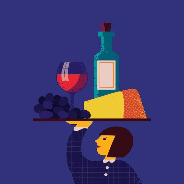 Illustrazione con cameriera con vassoio con uva, formaggio, bicchiere da vino, bottiglia di vino su di esso. priorità bassa di disegno del menu del ristorante, carattere cameriere con cibo e bevande alcoliche Vettore Premium