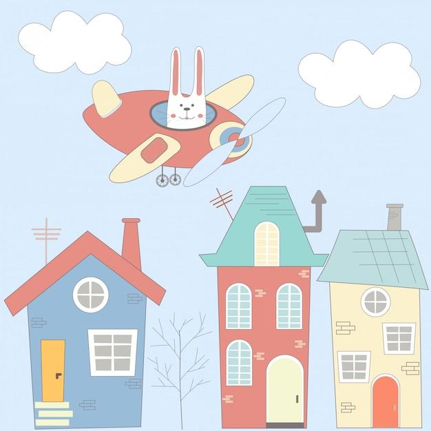 Illustrazione con case, lepre e aereo in stile cartoon Vettore Premium