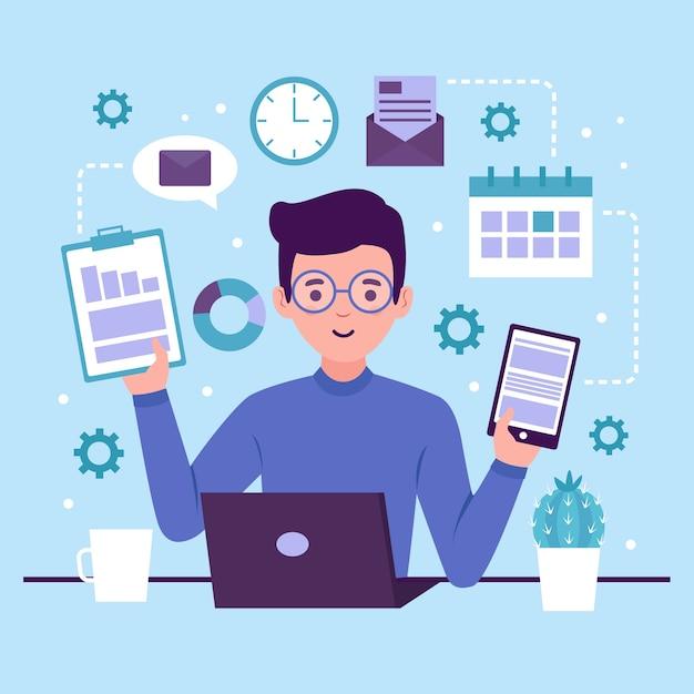 Illustrazione con design multitasking Vettore gratuito