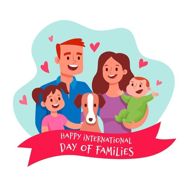 Illustrazione con la giornata internazionale delle famiglie Vettore gratuito